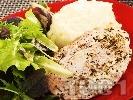 Рецепта Свински пържолки от контрафиле (карета) в бира и кисело мляко печени в тавичка на фурна с картофено пюре